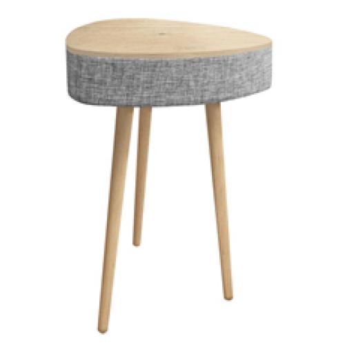 שולחן משולש מעוצב עם רמקול בלוטוס ועמדת טעינה אלחוטית