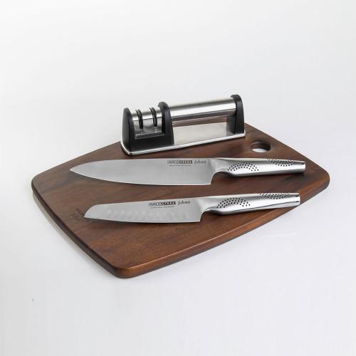 סט סכינים וקרש חיתוך- השף מאיר אדוני ARCOSTEEL