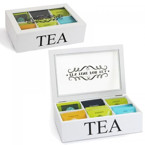 תיבת תה מהודרת מעץ עם 6 תאים