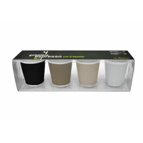 סט 4 כוס אספרסו שחור לבן מבית SOHO