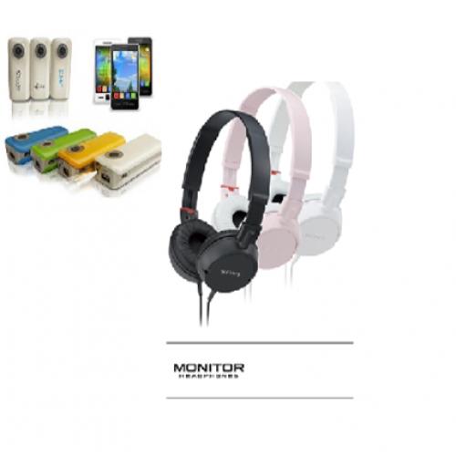 סט של אוזניות איכותיות וסוללת גיבוי עם פנס
