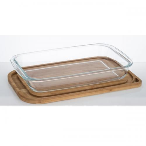 תבנית אפיה והגשה מלבנית מזכוכית 2.2 ליטר עם מכסה במבוק מבית נעמן