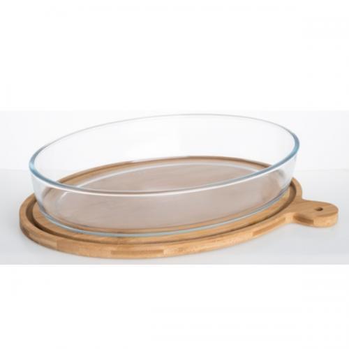 תבנית אפיה והגשה אובלית מזכוכית 2.4 ליטר עם מכסה במבוק מבית נעמן