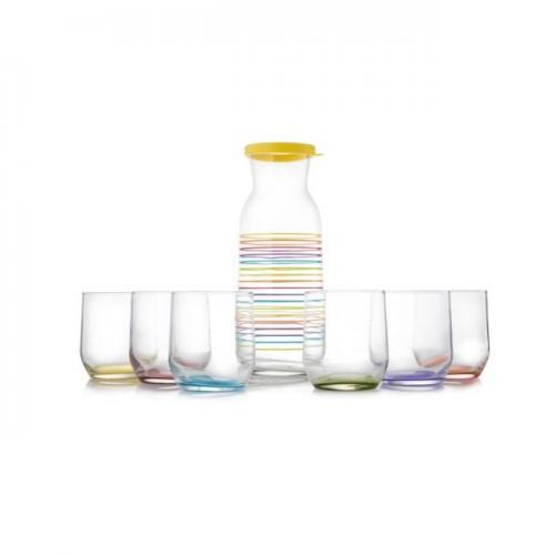קנקן מים צבעי הקשת + 6 כוסות שתייה