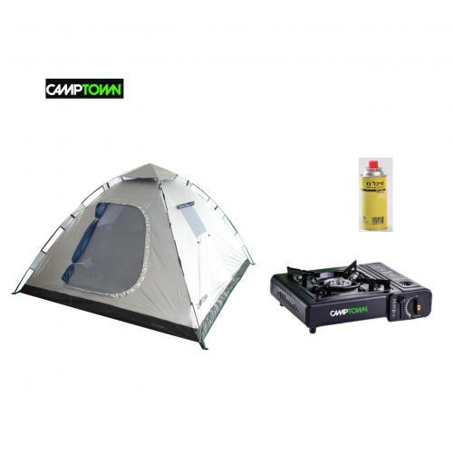 מארז קמפינג מושלם של CAMPTOWN - אוהל ל- 6 אנשים וכירת גז