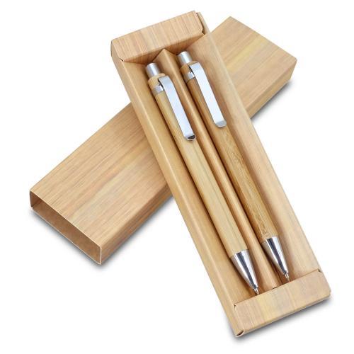 עט כדורי ועיפרון מכני עשויים במבוק