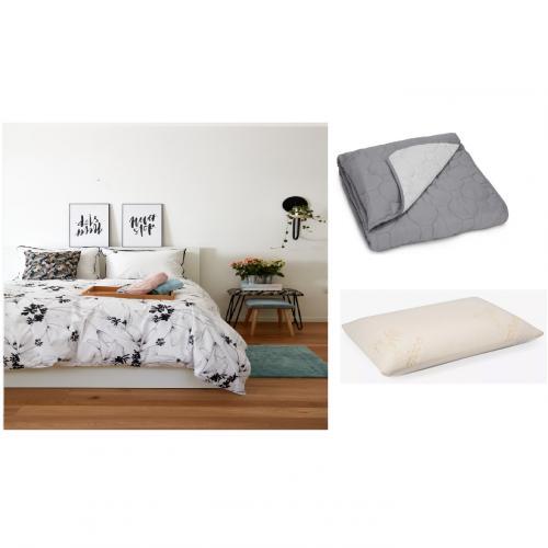 מארז שינה קומפלט הכולל 2 סטים מצעים זוגיים שתי כריות ושמיכה זוגית זוגית כיתן