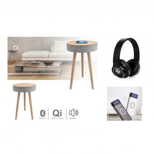 מארז שמע הכולל שולחן עם רמקול, אוזניות ופאוור בנק