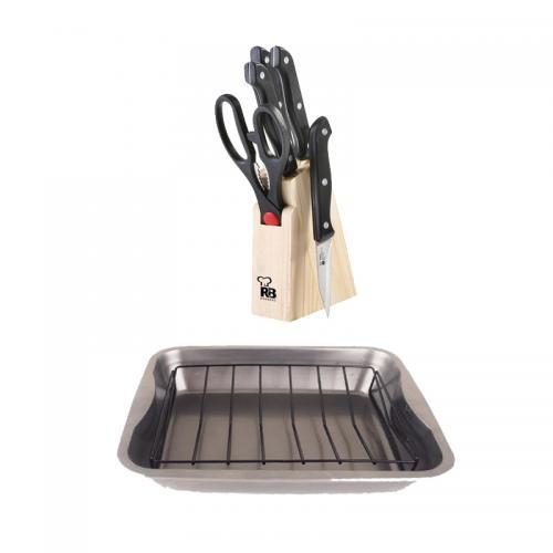 רוסטר ורשת צלייה לתנור עם סט 6 סכינים ומספריים בבלוק עץ