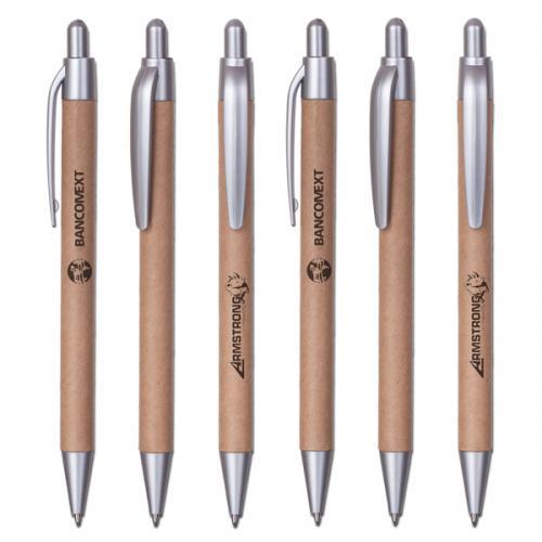 עט כדורי אקולוגי מקרטון ממוחזר בשילוב צבע כסוף