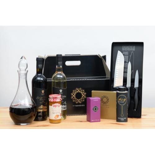 מארז יינות שוקולד וסכיני מטבח לחג