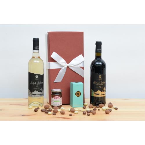 מארז קטן יין  ושוקולד לחג