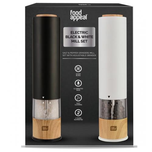 זוג מטחנות אלקטרוניות מלח\פלפל שחור\לבן מבית Food appeal