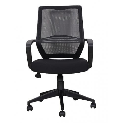 כסא מנהל גבוה - בד רשת שחור מנגנון 2 ידיות בסיס ניילון שחור