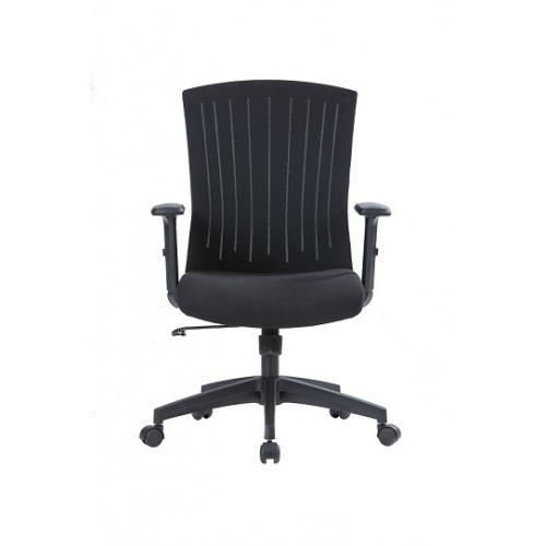 כסא מנהל נמוך - מושב שחור גב רשת שחור מנגנון מכני + נעילה ידיות עולה יורד בסיס ניילון שחור
