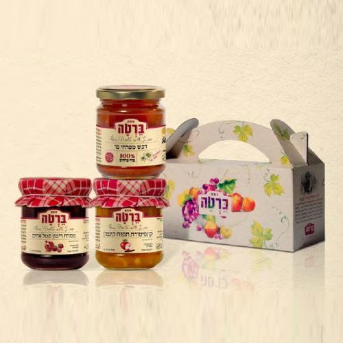 מארז מוגדל לחג דבש ממרח רימון וקונפיטורה תפוח עץ וקינמון