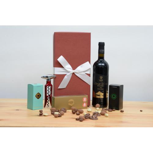 מארז קטן שוקולד יין וחולץ לחג
