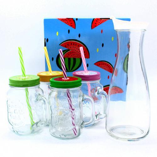 סט שתייה מדליק לקיץ ! קנקן קראף מעוצב +  4 כוסות שייק מדליקות עם קשית ומכסה