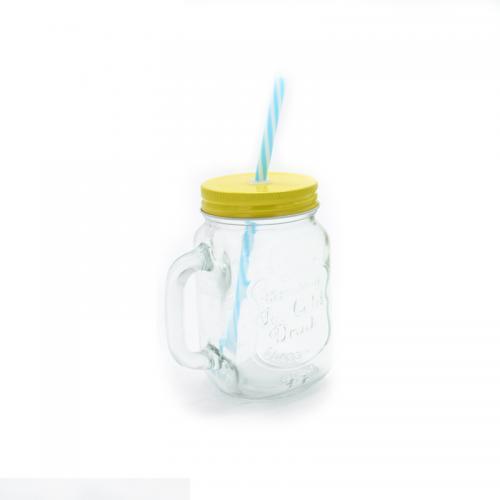 כוס זכוכית מעוצבת עם מכסה וקשית