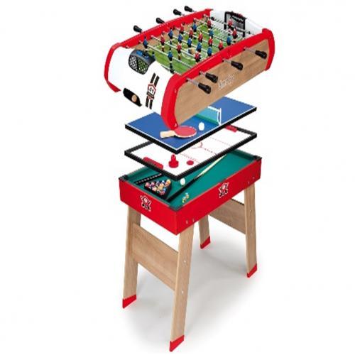 שולחן עץ מקצועי 4 ב-1 סנוקר,הוקי,פינגפונג,כדורגל SMOBY