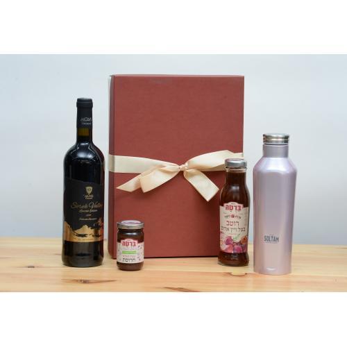 מארז יין רוטב ובקבוק טרמי לחג