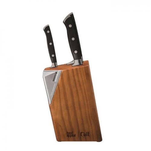 """סט 4 חלקים CULT - סכין סנטוקו 18 ס""""מ, סכין פירוק 15 ס""""מ, סכין רב-שימושית 12 ס""""מ + מעמד סכינים מבית FOOD APPEAL"""