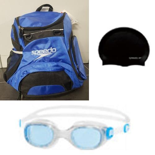 ערכת תיק ספורט, משקפת וכובע שחיה