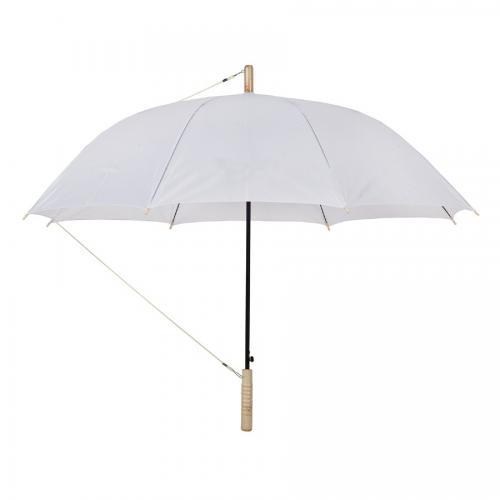 """מטרייה 23"""" ידית עץ לבן"""