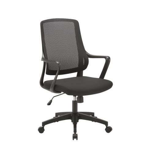 כסא מנהל נמוך - גב רשת אלסטי ידיות קבועות רגל ניילון שחורה -מנגנון מכני ריפוד מושב בד שחור