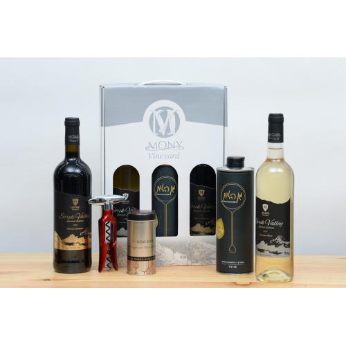 מארז שמן זית יין אדום ויין לבן חולץ פקקים ושוקולד לחג