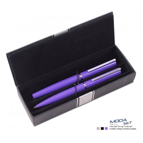 """""""סט מודה"""" עט כדורי ועט רולר מתכתיים בקופסה"""