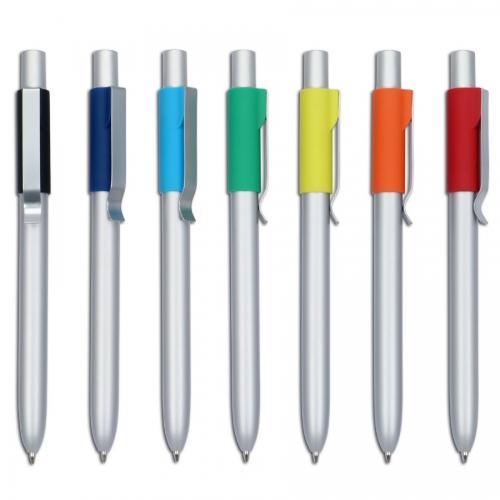"""""""פיוז"""" עט מתכת כדורי עם שילוב גומי צבעוני"""