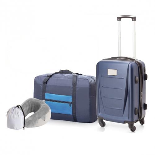 סט טיולים ונסיעות הכולל מזוודה חכמה 20', תיק מתקפל וכרית לצוואר