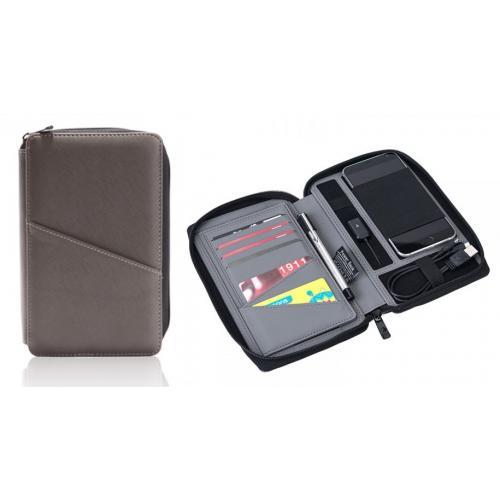נרתיק נסיעות ודרכון  איכותי משולב עם סוללת גיבוי