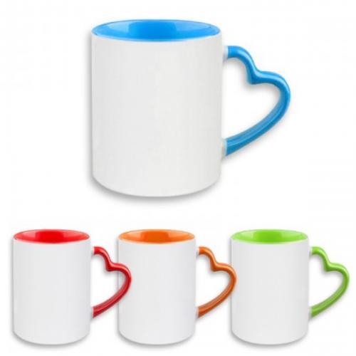 ספל מאג עם ידית לב צבעונית ופנים צבעוני - כולל הדפסה צבעונית