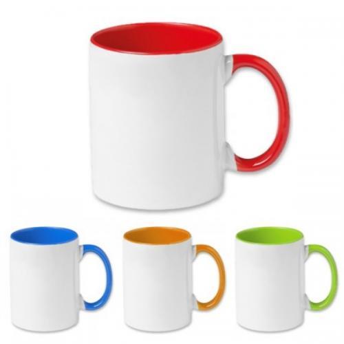 ספל פורצלן עם ידית ופנים צבעוני - כולל הדפסה צבעונית