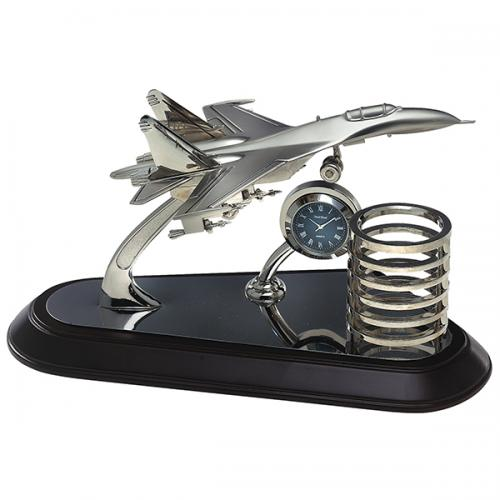 מעמד שולחני מטוס שעון כוס לעטים
