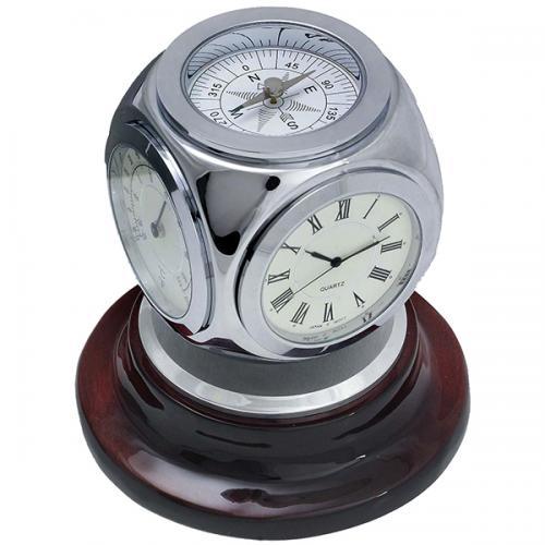 מעמד מתכת משולב מסתובב שעון טרמו' הידרו' ומצפן