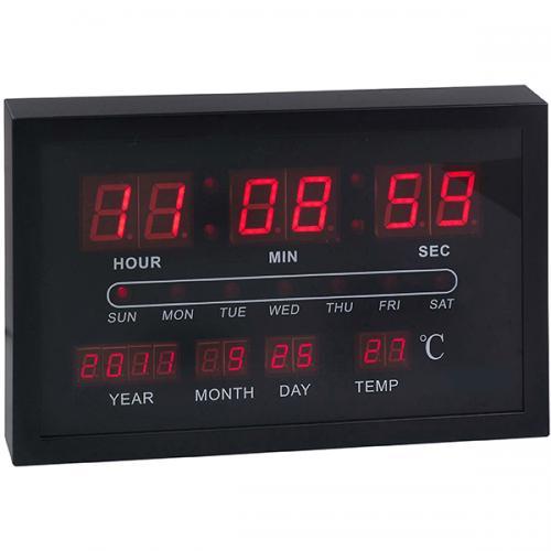 שעון קיר דיגיטלי קלנדר שחור