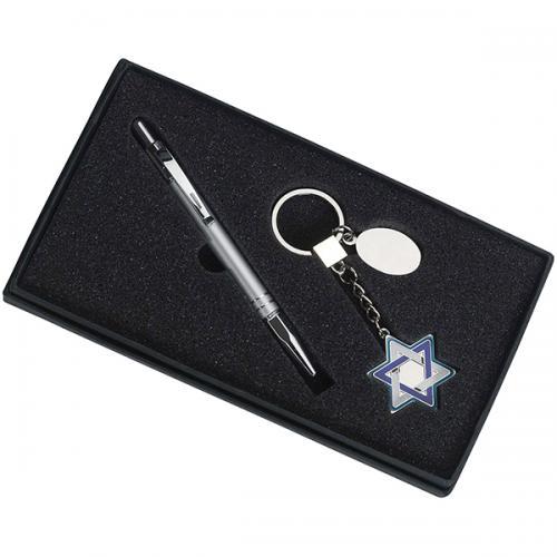 מארז מתנה מחזיק מפ' מגן דוד + מקום לעט
