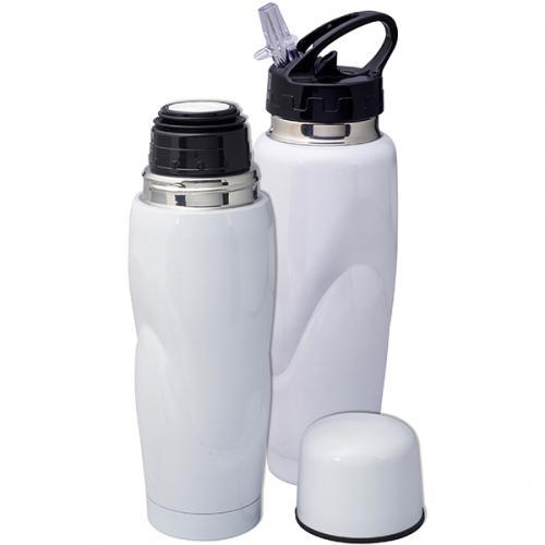 סט HOT&COLD טרמוס מתכת לבן  + בקבוק ספורט  מתכת לבן