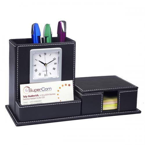 מעמד שולחני דמוי עור שחור שעון+לעטים /כרטיסי ביקור/וממו
