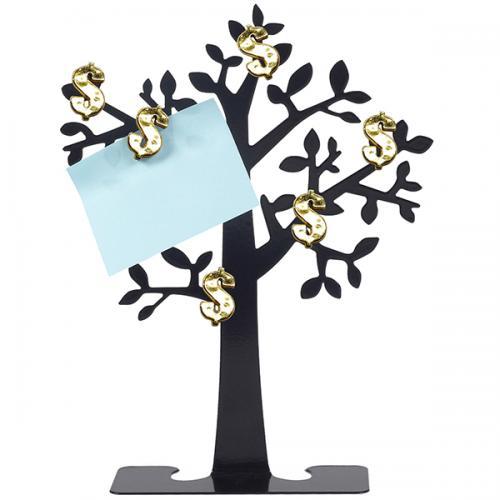 עץ הממון - מתכת שחור עם 6  סימני $ מגנטיים מוזהבים