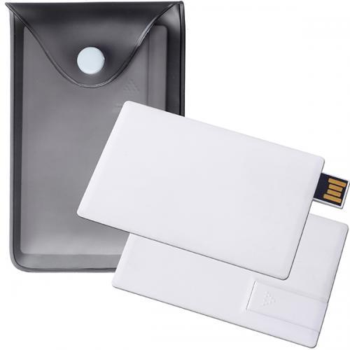 דיסק-און-קי כרטיס אשראי לבן בנפח משתנה בנרתיק PVC שחור