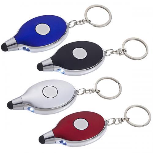 מחזיק מפתחות מטאלי משולב פנס לד + ראש טאץ למסך מגע