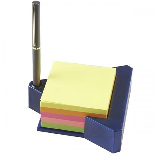 מעמד שולחני ממו משולש כחול עם בלוק נייר סטיקי צבעוני