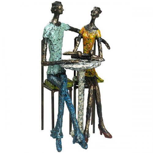 פסל אומנותי - קפה פריז (זוג שותה יין)