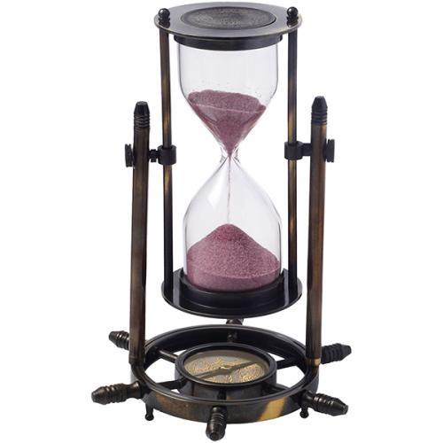 שעון חול מנחושת מהודר במעמד שולחני עם מצפן ימאות