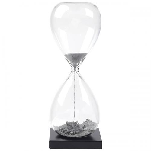 שעון חול מגנטי 60 שנ' בבסיס עץ שחור- שבבי מתכת