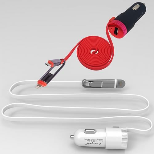 מטען USB לרכב עם כבל מובנה 2 ב- 1